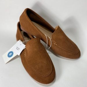 A New Day Cognac 'Mila' suede slip on loafers NWT